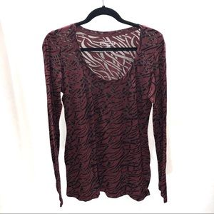 Maurices extra large red and black long sleeve tee